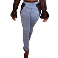 Casual Mesh Stitching Jeans