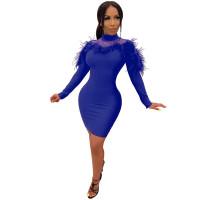 Casual High Neck Fur Mini Bodycon Dress