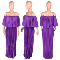 Casual Off Shouler Pleated Maxi Dress