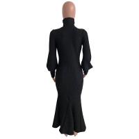 Thick Puff Sleeve Turtleneck Pit Mermaid Dress