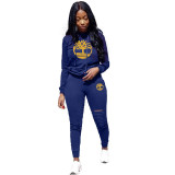 Embroidered Burning Hole Sports Two Piece Set