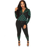 Casual Pit Plaid Print Jacket and Trousers