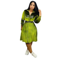 Casual Velvet Embroidered Drawstring Girdle Pleated Dress