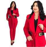 African Plus Size Women's Suits with Leather Belt