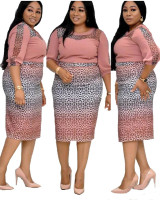 African Gradient Leopard Stitching Plus Size Midi Dress