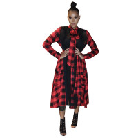 Casual Plaid Mesh Splicing Mid Dress with Belt