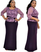 African Lace Stitching Plus Size Maxi Dress