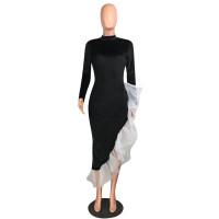 Casual Velvet Back Hollow Mesh Ruffled Long Dress