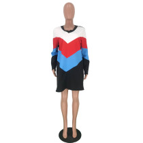Printed Width Striped Mini Dress