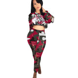 Casual Tiger Head Hole Crop Top and Pant
