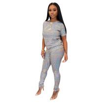 Casual Short Sleeve Sequins Women Set