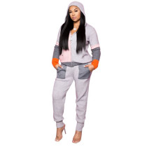 Casual Plush Pleated Cardigan Hoodie Sweatshirt Set