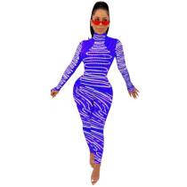 Casual Print Turtleneck Bodysuit