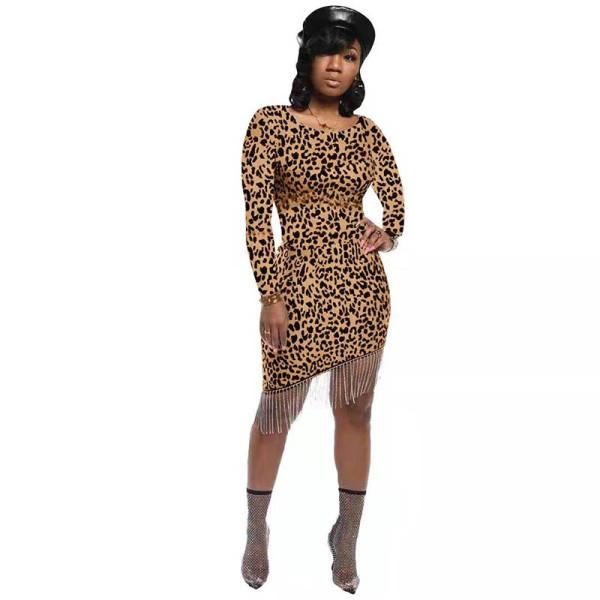 Casual Leopard Print Beaded Irregular Dress
