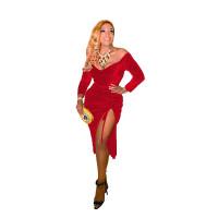 Gold Velvet Stretch Pleated Dress