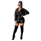 Casual Long Sleeve PU leather Romper