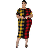 Fat Woman Plus Size Plaid Pattern Printed Maxi Dress