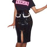 Cutout Sequins Diamonds PU Leather Skirt