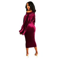 Solid Color Puff Sleeves Suede Mid Dress
