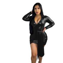 Deep V-neck Short Leather Mini Dress