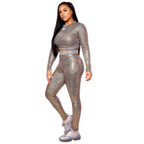 Casual Sequins Two Piece Set