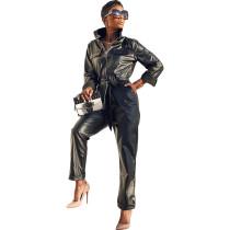 Solid Color Fleece Zip Leather Jumpsuit