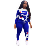 Printed Stitching Hooded Sports Two Piece Set