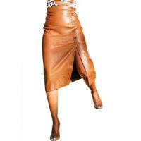High Waist Beveled Irregular PU Skirt