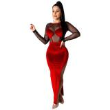 Gold Velvet Mesh Stitching High Slit Maxi Dress