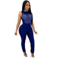 Sleeveless Stand-up Collar Rhinestone Mesh See Through Bodysuit