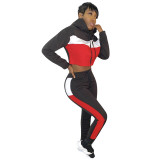 Casual Stitching Hoodie Two Piece Outfits