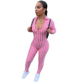 Striped V Neck Long Sleeve Jumpsuit