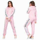 Casual Sports Printed Hooded Pants Set