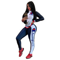 Positioning Print Splicing Sports Two Piece Outfits