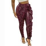 Solid Color Ruffled PU Pants