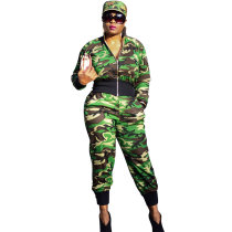 Casual Camouflage Two Piece Set