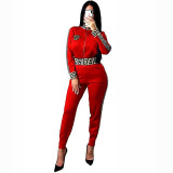 Casual Women's Zip Print Blouse and Trousers