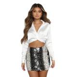 Snakeskin Print PU Leather Skirt with Hidden Zip