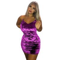 Casual Hollow Velvet Strap Deep V Mini Dress