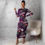 Casual Creative Printing Long Dress