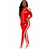 Casual Embroidered Sports Two Piece Set