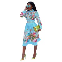 Plus Size Turndown Neck Print Midi Dress