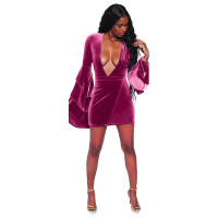 Deep-V Sexy Velvet Club Dresses with Wide Sleeves