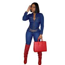 Casual Blue Denim Button Up Bodycon Jumpsuit