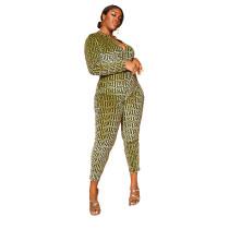 Plus Size Zipper Print Jumpsuit