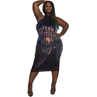 Fat Woman Plus Size Vest Sequin Midi Dress