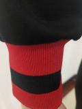 Casual Ribbon Offset Printed Sports Pants Set