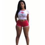 Casual Printed T-shirt Shorts Set