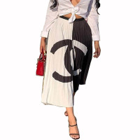 Casual Ruched Printed Skirt