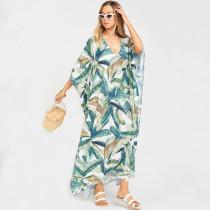 Leaf Print V Neck Beach Dress